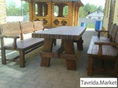 Стол и лавки деревянные под старину