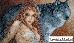Картина ручная работа Девушка с волком, фентази
