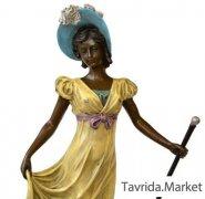 Статуэтка Девушка с тростью цветная. Бронза