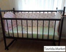 Кроватка детская+матрац+бортики