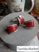 Кольцо,серьги серебро,яшма.